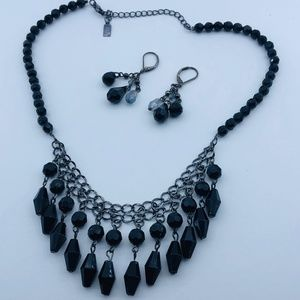 1928 Black Statement Necklace & Earring Set